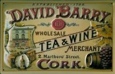 Blechschild David Barry Tea and Wine Cork Tee Reklame Schild Nostalgieschild