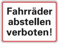 Aluminium Schild Fahrräder abstellen verboten 150x200 mm geprägt