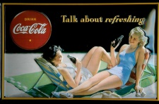 Blechschild Coca Cola Talk about refreshing Schild nostalgisches Werbeschild