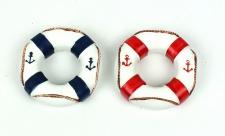 Deko Rettungsringe 2 Stück rot und blau maritime Tischdeko