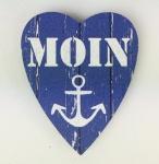 Herz Magnet Holz Moin Anker blau weiß Herzmagnet Holzmagnet