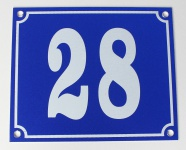 Hausnummernschild Aluminium Aluschild 1 mm Stärke Alu Schild Nr. 28 blau