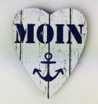 Herz Magnet Holz Moin Anker weiß blau Herzmagnet Holzmagnet