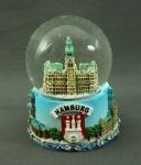 Schneekugel mit Rathaus Hamburg 6x4, 5 cm Schüttelkugel Glitzerkugel klein