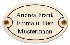 Türschild oval mit Wunschtext 20 x 13, 5 cm wetterfestes Emaille verschiedene ...