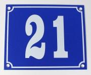 Hausnummernschild Aluminium Aluschild 1 mm Stärke Alu Schild Nr. 21 blau