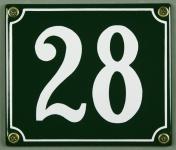 Hausnummernschild 28 grün 12x14 cm sofort lieferbar Schild Emaille Hausnummer...