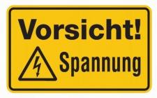 Aluminium Schild Vorsicht! Spannung 120x200 mm geprägt
