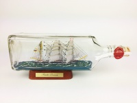 Seute Deern eckige Ginflasche 0, 7 Liter Buddelschiff Museumsqualität