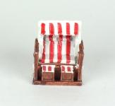 Strandkorb Deko klein rot weiß 6 cm maritim