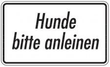 Aluminium Schild Hunde bitte anleinen Text Hund 120x200 mm geprägt