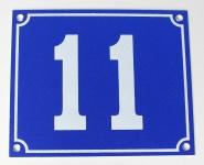 Hausnummernschild Aluminium Aluschild 1 mm Stärke Alu Schild Nr. 11 blau