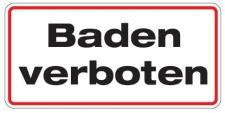 Aluminium Schild Baden verboten 170x350 mm geprägt