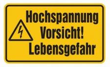 Aluminium Schild Hochspannung Vorsicht! Lebensgefahr 120x200 mm geprägt