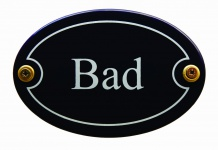 Emaille Türschild Bad blau oval Schild Toilettenschild Emailleschild Metallsc...