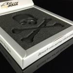 """Qualitäts 3D Autoaufkleber SCHWARZ """" Totenkopf"""" Metall Emblem Matt Black Stick..."""