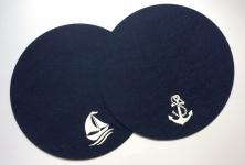 Platzset rund dunkelblau 2-teilig Anker und Schiff Filz Tischmatte