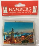 Magnet silber Metall geprägt Hamburg Landungsbrücken Souvenir Mitbringsel Ges...