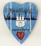 Herz Magnet Holz Hamburg Meine Perle Herzmagnet Holzmagnet