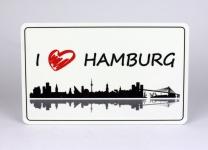 Frühstücksbrett I love Hamburg weiss Brettchen Frühstück Brett 23, 5 x 14, 3 x ...
