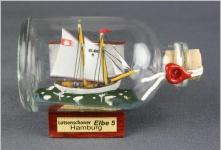Elbe 5 Lotsenschoner Mini Buddelschiff 50 ml ca. 7, 2 x 4, 5 cm Flaschenschiff