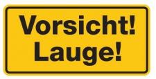 Aluminium Schild Vorsicht! Lauge! 170x350 mm geprägt