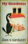 Blechschild Guinness Bier Have a Sandwich! Toucan Schild nostalgisches Werbes...