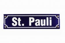 Strassenschild St. Pauli 30x8 cm Hamburg Souvenir Emaille Schild