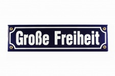 Strassenschild Große Freiheit 30x8 cm Hamburg St. Pauli Andenken Emaille Türs...