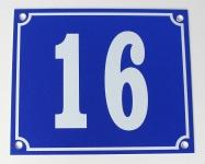Hausnummernschild Aluminium Aluschild 1 mm Stärke Alu Schild Nr. 16 blau
