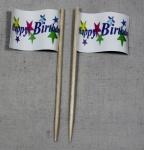 Party-Picker Flagge Happy Birthday 1 Papierfähnchen in Spitzenqualität 50 Stü...