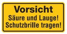 Aluminium Schild Vorsicht Säure und Lauge! Schutzbrille tragen! 170x350 mm ge...