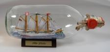 Alte Liebe Schoner mit Landschaft runde Flasche 0, 3 Liter Buddelschiff Flasch...