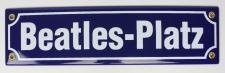 Strassenschild Beatles-Platz 30x8 cm Hamburg Souvenir Emaille Schild