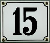 Hausnummernschild 15 weiß 12x14 cm sofort lieferbar Schild Emaille Hausnummer...