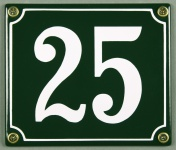 Hausnummernschild 25 grün 12x14 cm sofort lieferbar Schild Emaille Hausnummer...