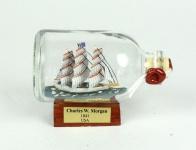 Charles W. Morgan USA Mini Buddelschiff 50 ml ca. 7, 2 x 4, 5 cm Flaschenschiff