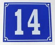 Hausnummernschild Aluminium Aluschild 1 mm Stärke Alu Schild Nr. 14 blau