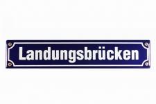 Strassenschild Landungsbrücken 40x8 cm Hamburg St. Pauli Email Strassen Schil...