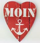 Herz Magnet Holz Moin Anker rot weiß Herzmagnet Holzmagnet