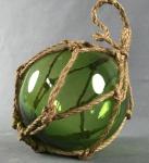 Deko Fischerkugel aus Glas grün 13 cm Tauwerk Netz