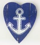Herz Magnet Holz Anker weiß blau Herzmagnet Holzmagnet