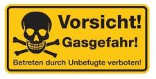 Aluminium Schild Vorsicht! Gasgefahr! Betreten durch Unbefugte verboten! 170x...