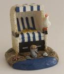 Strandkorb Deko klein blau weiß 6, 5 cm