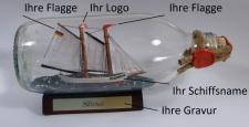 Buddelschiff runde Flasche 0, 3 Liter Flaschenschiff individuell nach Ihren Wü...