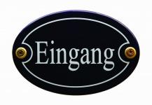 Emaille Türschild Eingang blau oval Schild Emailleschild Metallschild Blechsc...