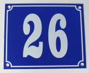 Hausnummernschild Aluminium Aluschild 1 mm Stärke Alu Schild Nr. 26 blau