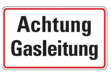 Aluminium Schild Achtung Gasleitung 120x200 mm geprägt