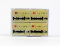 Magnet Set Hamburg I Love HH Skyline weiß 4-teilig Souvenirs Andenken