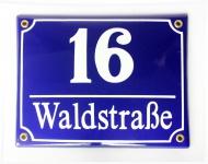 Emaille Süddeutsches Hausnummernschild mit Wunschzahl / Text 20x16 cm Hausnummer